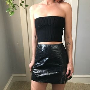 THE ROW Black Faux Leather Liquid Mini Femme Skirt